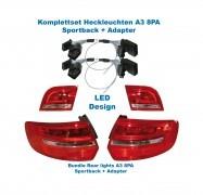 Facelift Heckleuchten LED Audi A3 8PA Sportback + Adapter