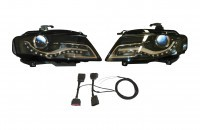 Bi-Xenon/LED Headlights Retrofit for Audi A4 8K with Daytime running lights - right hand traffic