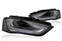 Bi-Xenon Headlights LED DRL for Audi A4 8K Facelift - right hand traffic