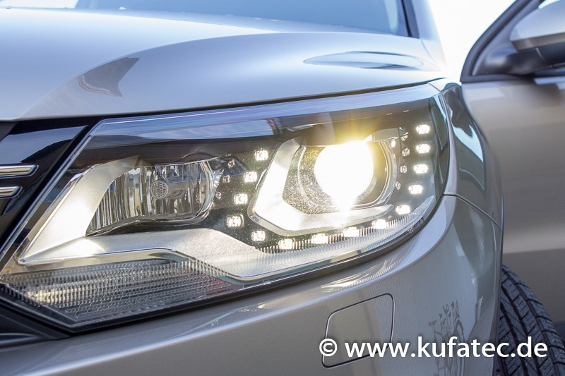 Bi Xenon Headlights Led Dtrl Upgrade For Vw Touareg 7p